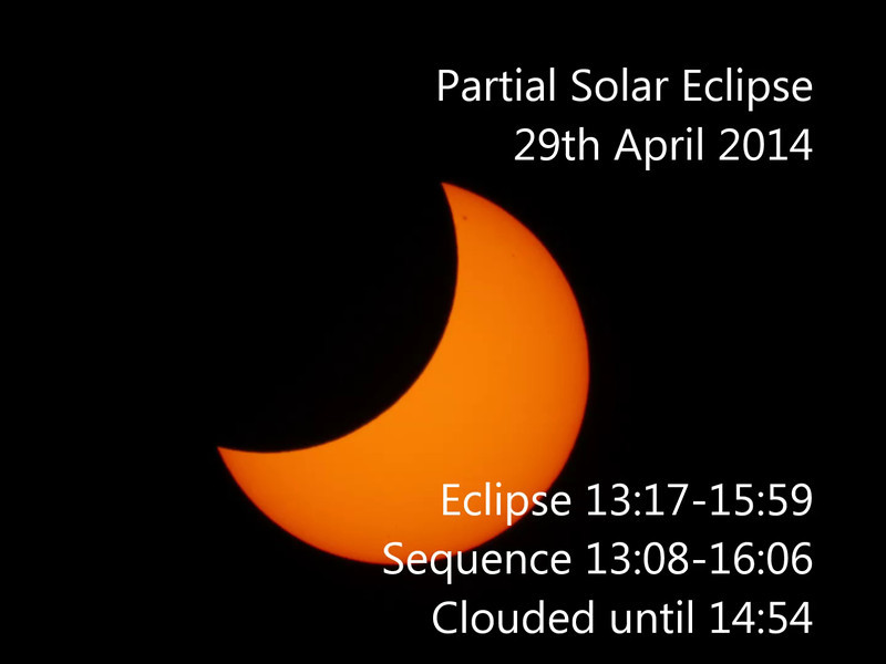 Partial Solar Eclipse - 29/4/2014 (Processed stills into video sequence)