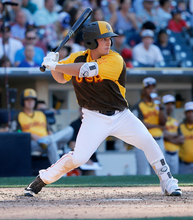 . U.S. Team\'s Alex Bregman, of the Houston Astros, hits during the seventh inning of the All-Star Futures baseball game, Sunday, July 10, 2016, in San Diego. (AP Photo/Lenny Ignelzi)