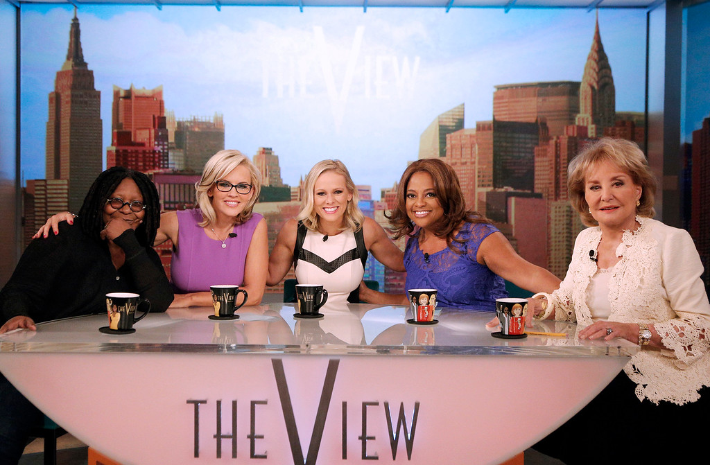 ". This April 15, 2014, photo provided by ABC shows, from left, co-hosts Whoopi Goldberg, Jenny McCarthy, political commentator, guest Margaret Hoover, Sherri Shepherd, and Barbara Walters, on ABC\'s show ""The View.\"" The show will gather all 11 past and present co-hosts to salute Walters as she retires from daily television in a first-ever reunion that will air on the May 15, episode, the day before Walters says goodbye as series co-host. (AP Photo/ABC, Heidi Gutman)"