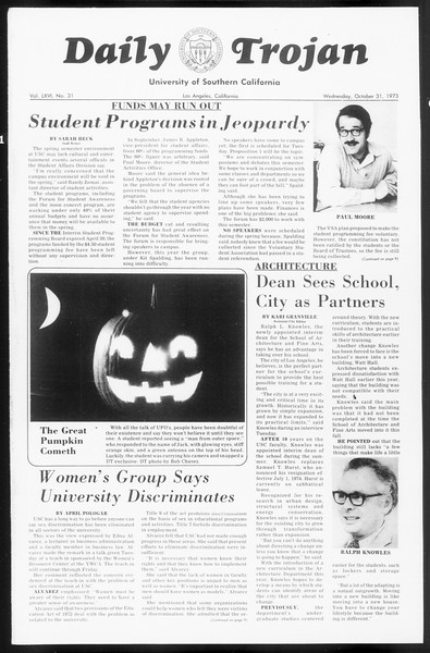 Daily Trojan, Vol. 66, No. 31, October 31, 1973