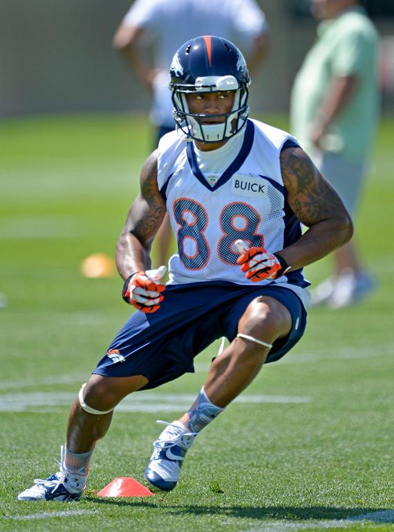 . Denver Broncos wide receiver Demaryius Thomas (88) runs through drills during OTAs June 10, 2014 at Dove Valley. (Photo by John Leyba/The Denver Post)