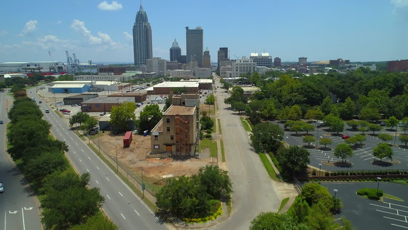 Aerial video Downtown Mobile Alabama approach