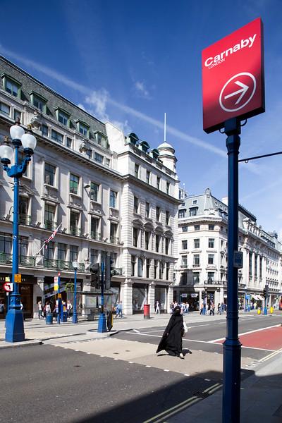 Muslim woman on Regent street, Westminster, London, England, United Kingdom