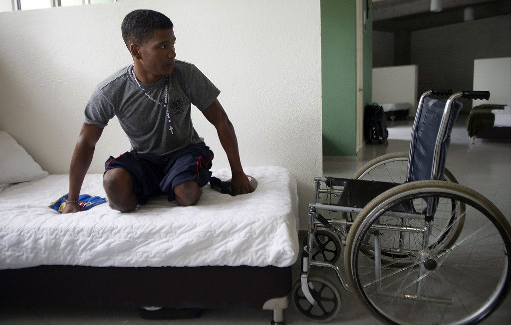 . Colombian soldier Aldemar Benitez, 23,  awaits his rehabilitation therapy session at the Heroes de Paramillo hospital  in Medellin, Antioquia department, Colombia on September 11, 2013. The Heroes de Paramillo hospital is the first in Latin America for soldiers victims of land mine explosions. According to the government and human rights organizations, Colombia is one of the countries with the largest number of land mine victims.  RAUL ARBOLEDA/AFP/Getty Images