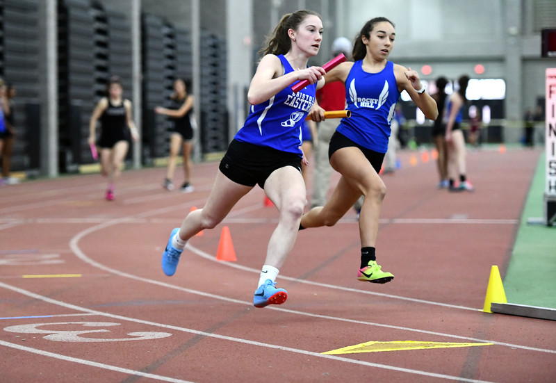 2/1/2020 Mike Orazzi | Staff Bristol Eastern's Victoria Kosciukiewicz in the girls 4x800 Meter Relay during the CCC Indoor Track & Field Championships at the Floyd Little Athletic Center in New Haven on Saturday.