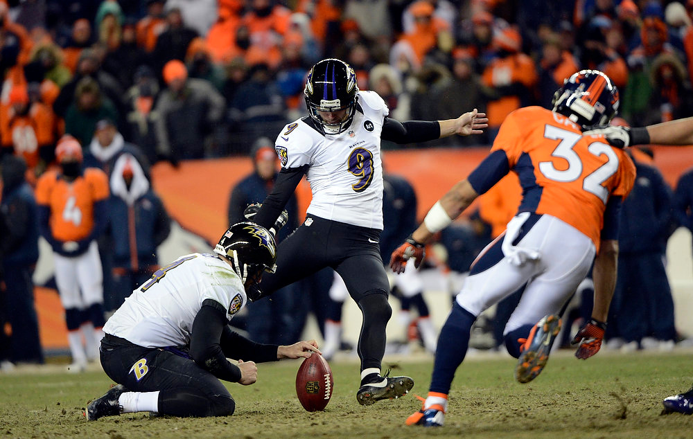 Description of . Baltimore Ravens kicker Justin Tucker (9) kicks the winning field goal.  The Baltimore Ravens beat the Denver Broncos 38 to 35.  The Denver Broncos vs Baltimore Ravens AFC Divisional playoff game at Sports Authority Field Saturday January 12, 2013. (Photo by Hyoung Chang,/The Denver Post)