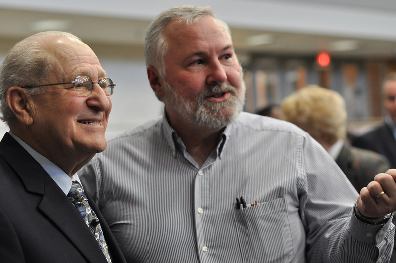 Dr. Berry's introducing his Judaism class to Auschwitz survivor, Irving Roth, after he spoke on Feb 20, 2012 at Cleveland Community College.