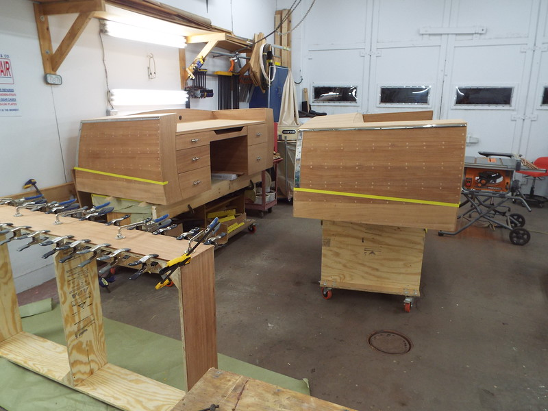 Starboard side of the desk and seat with the rub rail and transom guards fit.