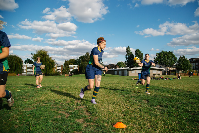 BTS shots of women from the Kilburn Cosmos Rugby Team during training