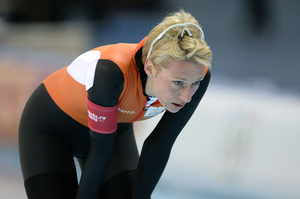. Netherlands\' Carien Kleibeuker reacts after the Women\'s Speed Skating 5000 m at the Adler Arena during the Sochi Winter Olympics on February 19, 2014.  (ANDREJ ISAKOVIC/AFP/Getty Images)