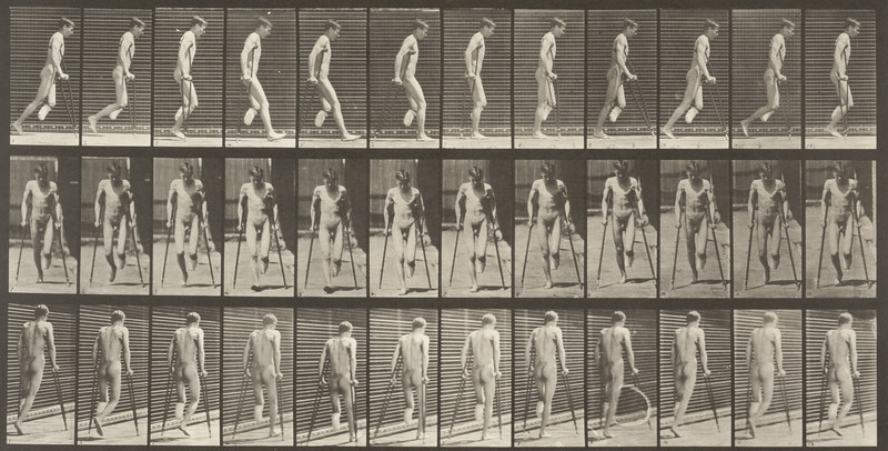 Nude man with single amputation of leg, hopping with crutches (Animal Locomotion, 1887, plate 537)