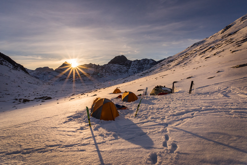 Sunset over camp at Tasiilap, East Greenland