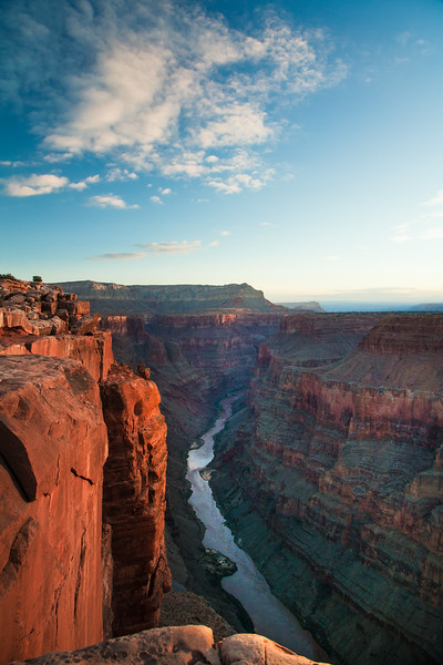The Grand Canyon & the Colorado River at sunrise as seen from the Toroweap overlook.