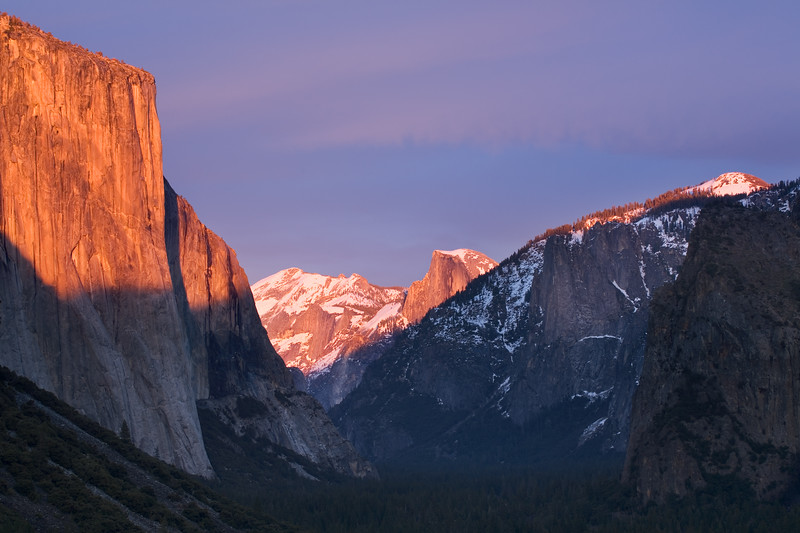 El Capitan and Half Dome at Sunset