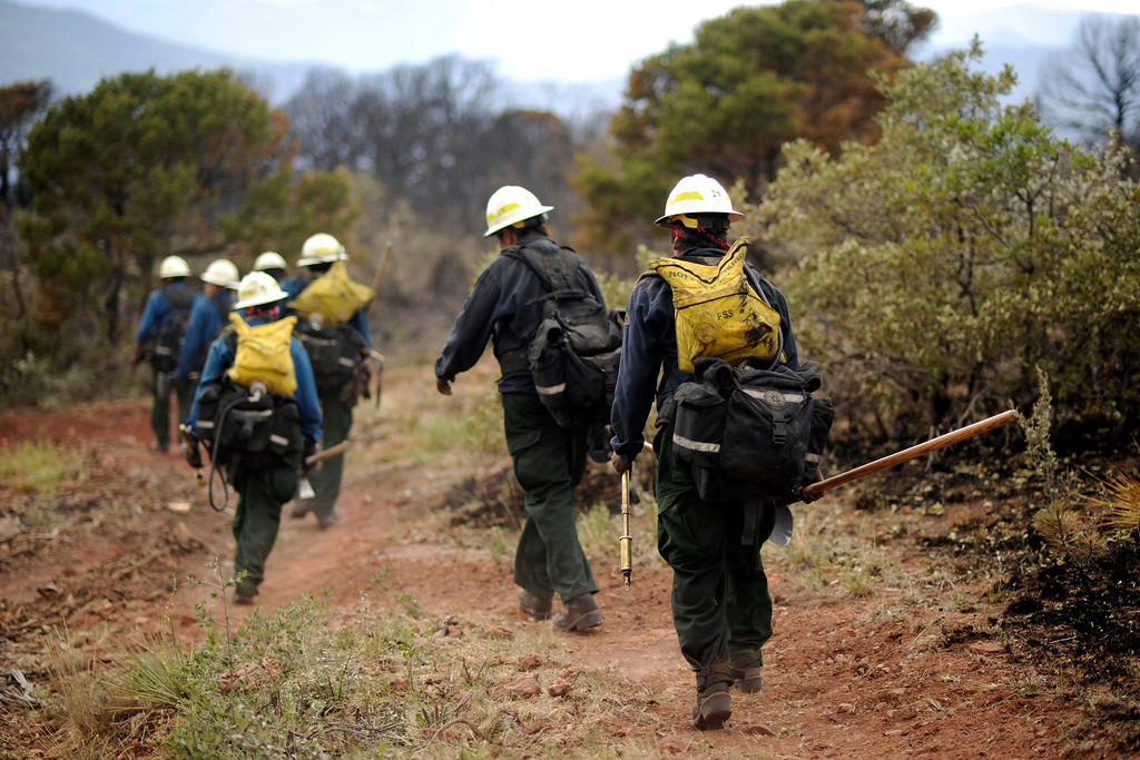 . 20 firefighters of Bighorn 209, a hand crew from Montana, check for hot spots by Cedar Heights Road in Colorado Springs, Colo. Hyoung Chang, The Denver Post