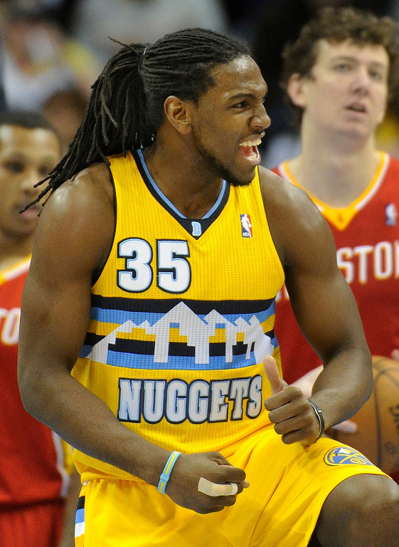 . DENVER, CO. - APRIL 6: Kenneth Faried (35) of the Denver Nuggets celebrated a play in the first half. The Denver Nuggets hosted the Houston Rockets at the Pepsi Center Saturday night, April 6, 2013. Photo By Karl Gehring/The Denver Post)