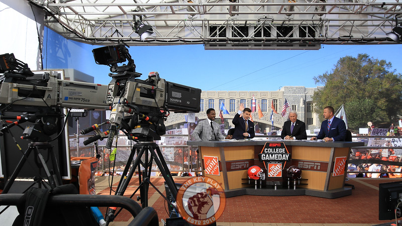 The GameDay crew's main set was placed in front of Torgersen Bridge on Alumni Mall. (Mark Umansky/TheKeyPlay.com)