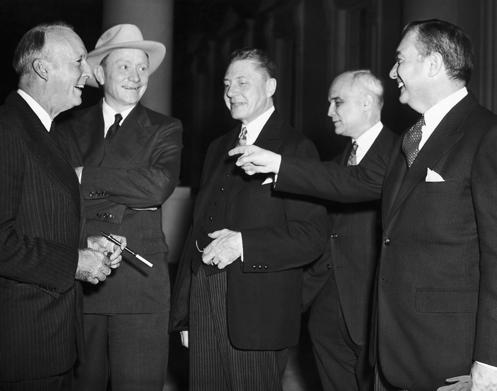 . Associate Justices of the Supreme Court joke on the steps of the White House in Washington, Oct. 15, 1946, after reception by President Truman. From left to right are: Justice Hugo L. Black, William O. Douglas, Court Clerk Charles E. Cropley, Justices Harold H. Burton and Robert H. Jackson. (AP Photo)
