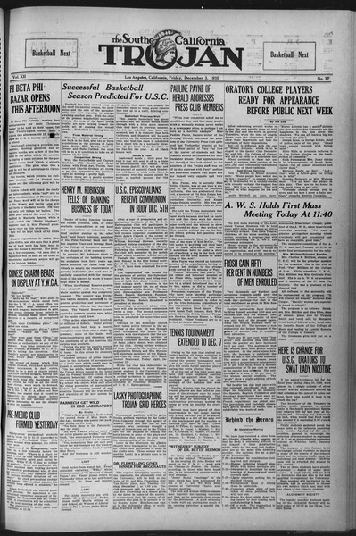The Southern California Trojan, Vol. 12, No. 37, December 03, 1920