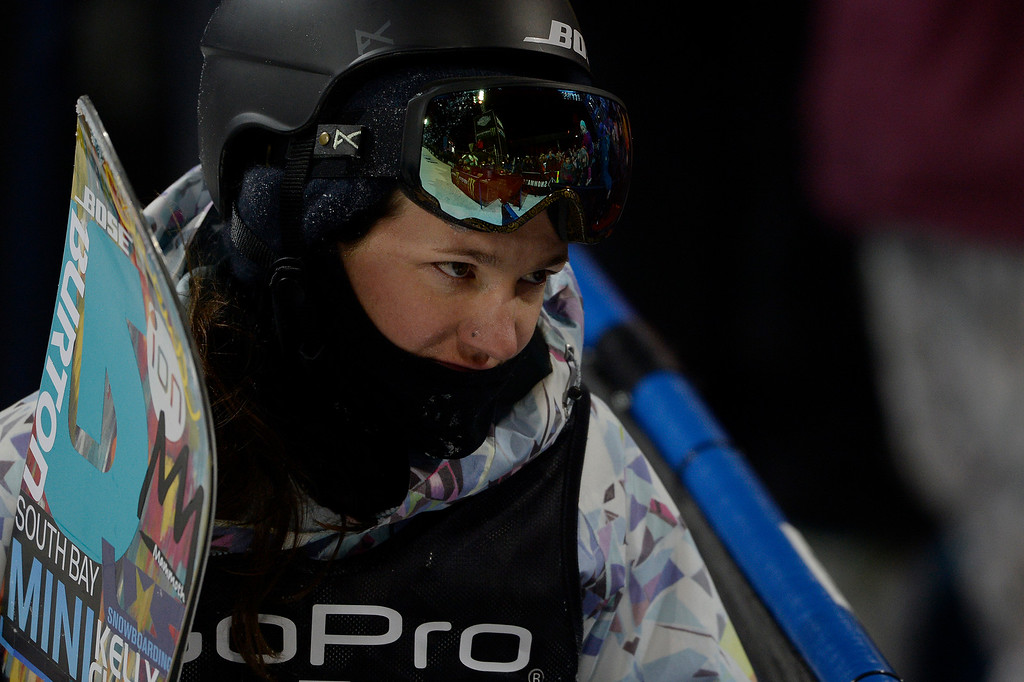 . Kelly Clark reacts to wiping out during the women\'s snowboard half pipe final. Winter X Games on Saturday, January 24, 2015. (Photo by AAron Ontiveroz/The Denver Post)