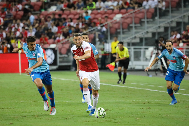 Players in action during Atletico de Madrid Vs Arsenal match at ICC 2018, at National Stadium, Singapore on 26th July 2018. Atletico de Madrid won the match 4-2.