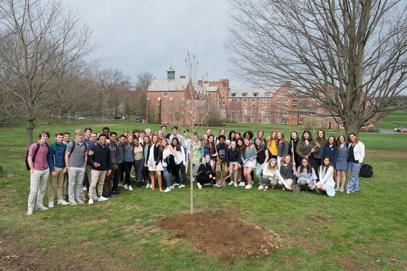 Taft EcoMons plant trees for Arbor Day
