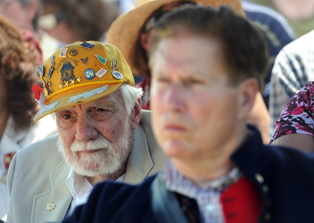 ". 88-year-old Elmer ""Bud\"" Atkinson, who attended the initial dedication of the Eternal Light Peace Memorial in Gettysburg, was on hand for Saturday\'s 75th celebration. YORK DAILY RECORD/SUNDAY NEWS--JASON PLOTKIN"