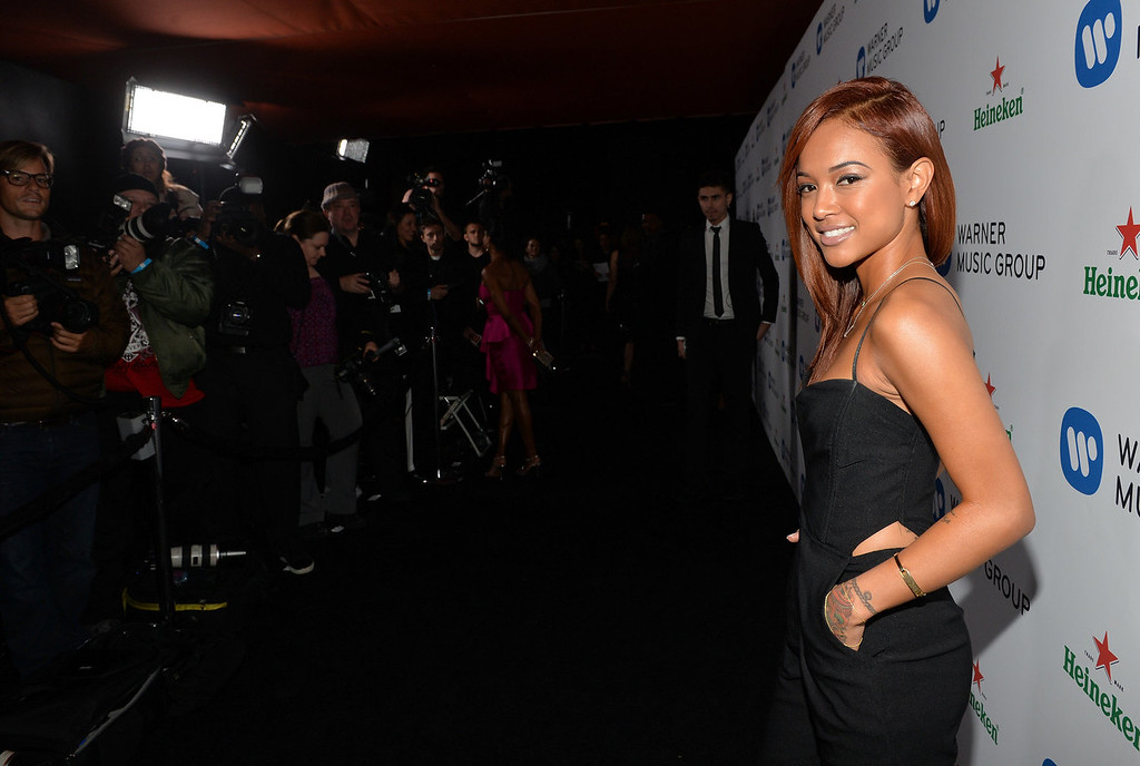 . Model Karrueche Tran attends the Warner Music Group annual GRAMMY celebration on January 26, 2014 in Los Angeles, California.  (Photo by Michael Buckner/Getty Images for Warner Bros.)