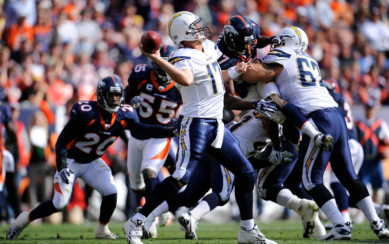 . Philip Rivers, North Carolina State Selected fourth overall by the Giants in 2004 Like the Giants with Manning, San Diego has been able to rely on Rivers on a consistent basis; the N.C. State alum has started every game for San Diego since his third season in 2006. Rivers has guided San Diego to four playoff appearances, though the team has been shut out of the postseason each of the last three seasons. Rivers is eighth among active quarterbacks in career passing yards with 27,891. GRADE: B+. Surrounded by a ton of talent for several years, and no Super Bowl? (John Leyba/ The Denver Post)