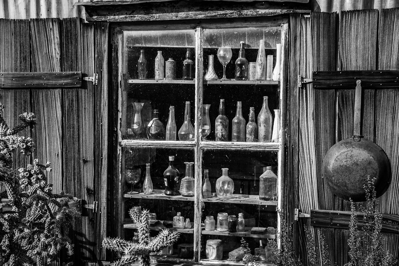 Old Bottles in Window