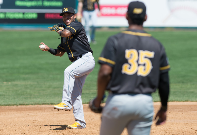 04/23/19  Wesley Bunnell | Staff  The New Britain Bees held their first exhibition game of the season vs the Milford Hunters on Tuesday afternoon.  Alexi Amarista (2) between innings.