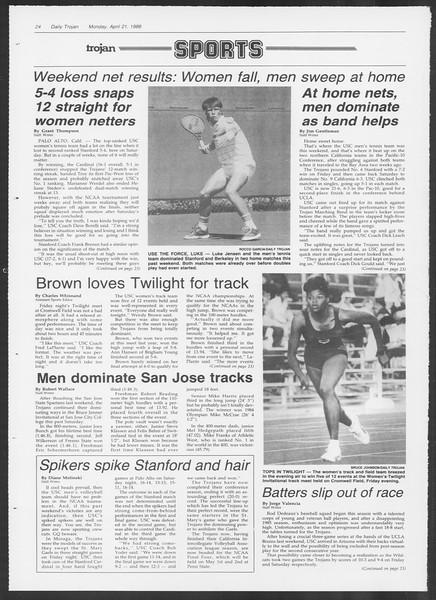 Daily Trojan, Vol. 100, No. 64, April 21, 1986