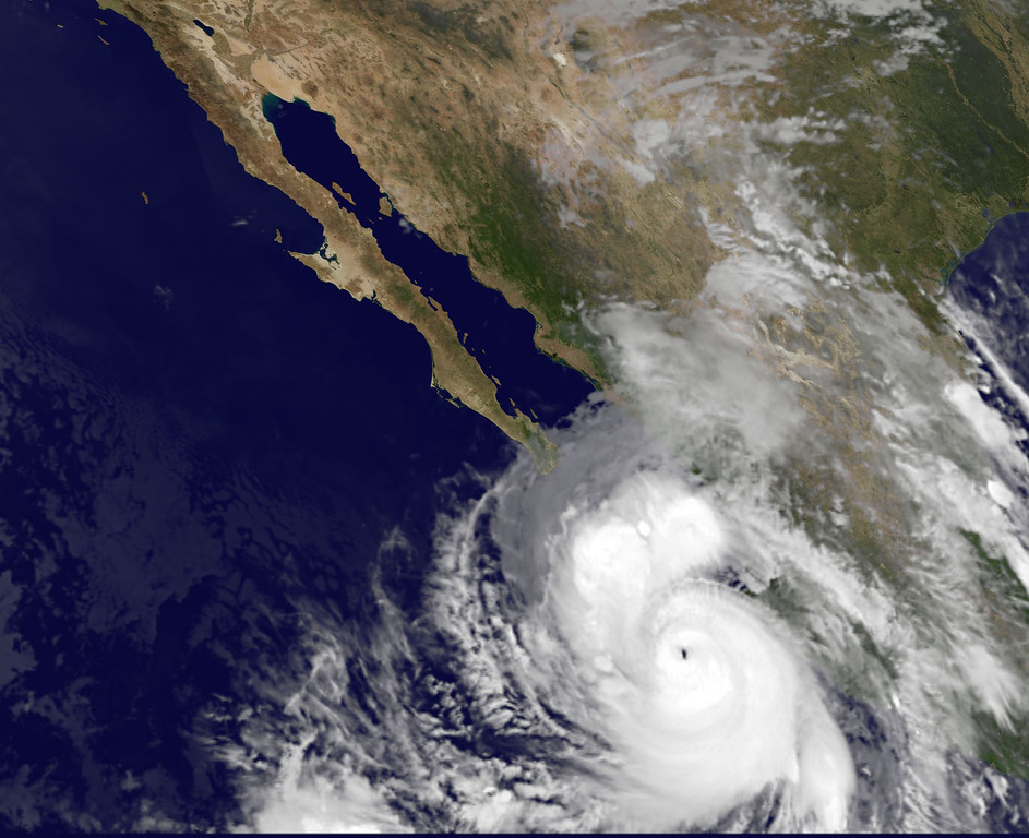 . This satellite image provided by NOAA shows category four Hurricane Odile taken at 5:45 a.m. EDT Sunday Sept. 14, 2014. (AP Photo/NOAA)