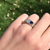 1.55ctw Old Mine Cut and Sapphire Gypsy Ring, GIA 14