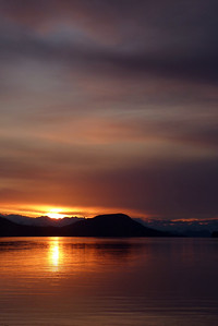 Sunset Shot from Lena Point Recreational Area with Shelter Island and the Chilkat Mountains - Vertical May 2012, Cynthia Meyer, Juneau, Alaska