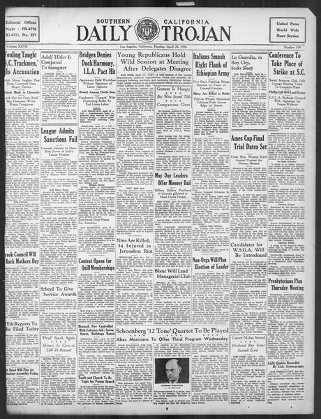 Daily Trojan, Vol. 27, No. 118, April 20, 1936