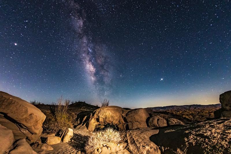 Rocks, Milky Way, and Badlands In the Anza-Borrego Desert