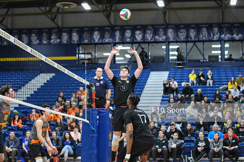 TORONTO, CANADA - Feb 21: during OCAA Volleyball Provincial Championship game 3 between NO. 5 HUMBER COLLEGE MEN'S VOLLEYBALL VS MOHAWK MOUNTAINEERS at Humber Hawks Athletics Center. Photo: Michael Fayehun/F10 Sports Photography