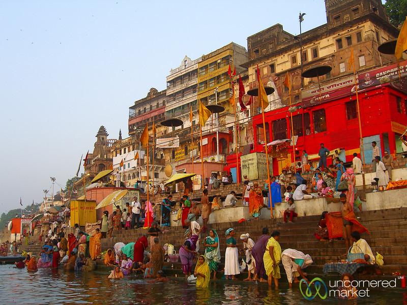 Prayers (Puja) and Bathing in the Ganges at Dawn - Varanasi, India