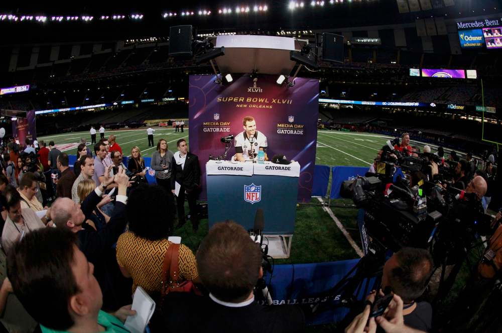 Description of . Baltimore Ravens quarterback Joe Flacco speaks to journalists during Media Day for the NFL's Super Bowl XLVII in New Orleans, Louisiana January 29, 2013. The San Francisco 49ers will meet the Ravens in the game on February 3. REUTERS/Sean Gardner