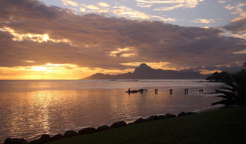 Tahiti sunset looking out to Mo'orea
