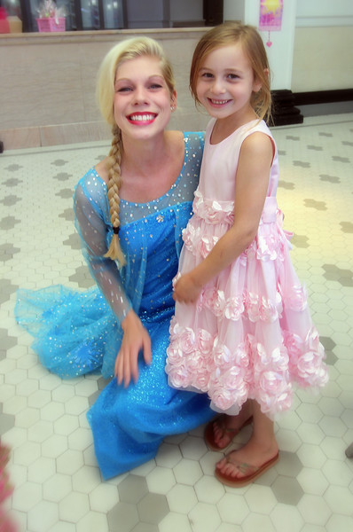 Princess Elsa meets the birthday girl!
