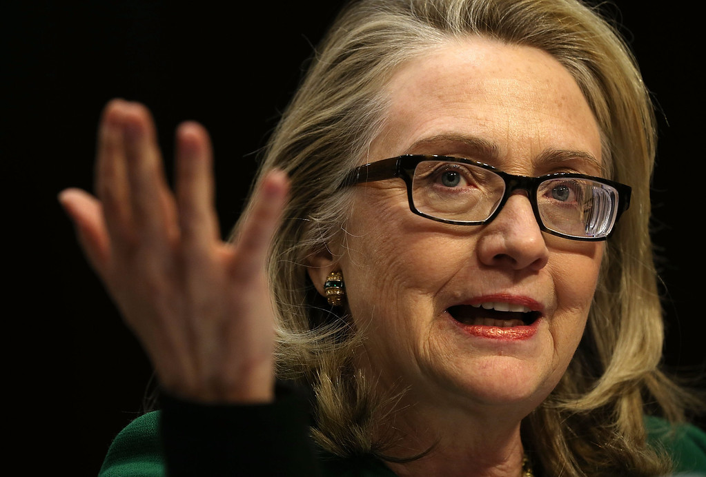 . WASHINGTON, DC - JANUARY 23:  U.S. Secretary of State Hillary Clinton testifies before the Senate Foreign Relations Committee about the September 11 attacks against the U.S. mission in Benghazi, Libya, on Capitol Hill January 23, 2013 in Washington, DC. Lawmakers questioned Clinton about the security failures that led to the death of four Americans, including U.S. Ambassador Christopher Stevens.  (Photo by Alex Wong/Getty Images)