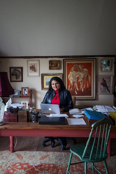 Nirmala Narine's Hudson Valley farm in New Paltz, NY. Nirmala also operates a retail store on her property, Nirmala's Kitchen. Nirmala in her office.