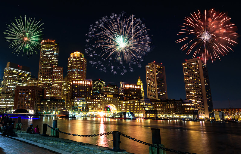 Labor day firework at Fan Pier Boston