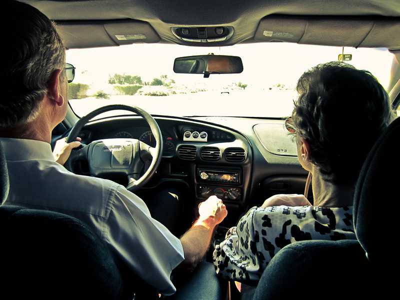 Paul and Faith driving to Church on their 40th Wedding Anniversary, May 20, 2012