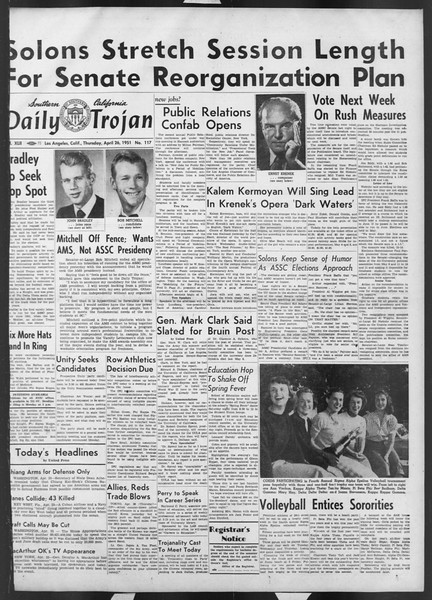 Daily Trojan, Vol. 42, No. 117, April 26, 1951