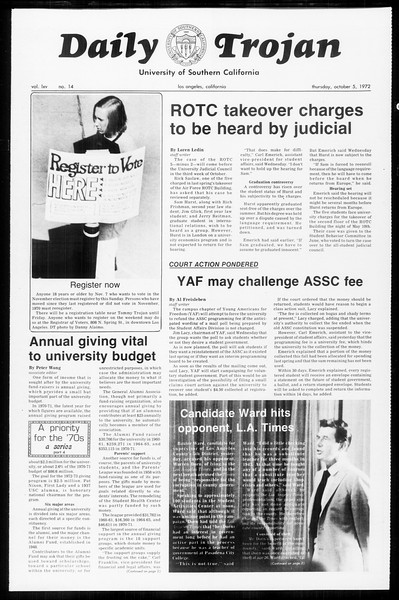 Daily Trojan, Vol. 65, No. 14, October 05, 1972