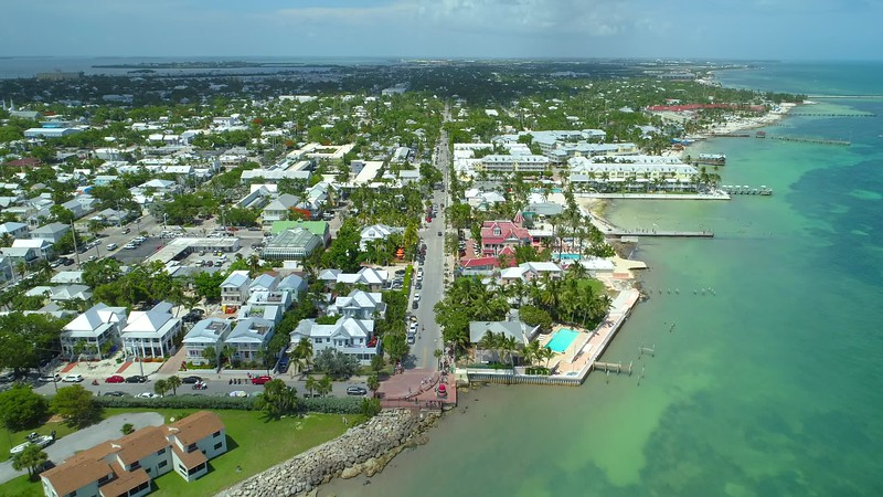 Aerial footage South Street Key West Florida 4k 24p