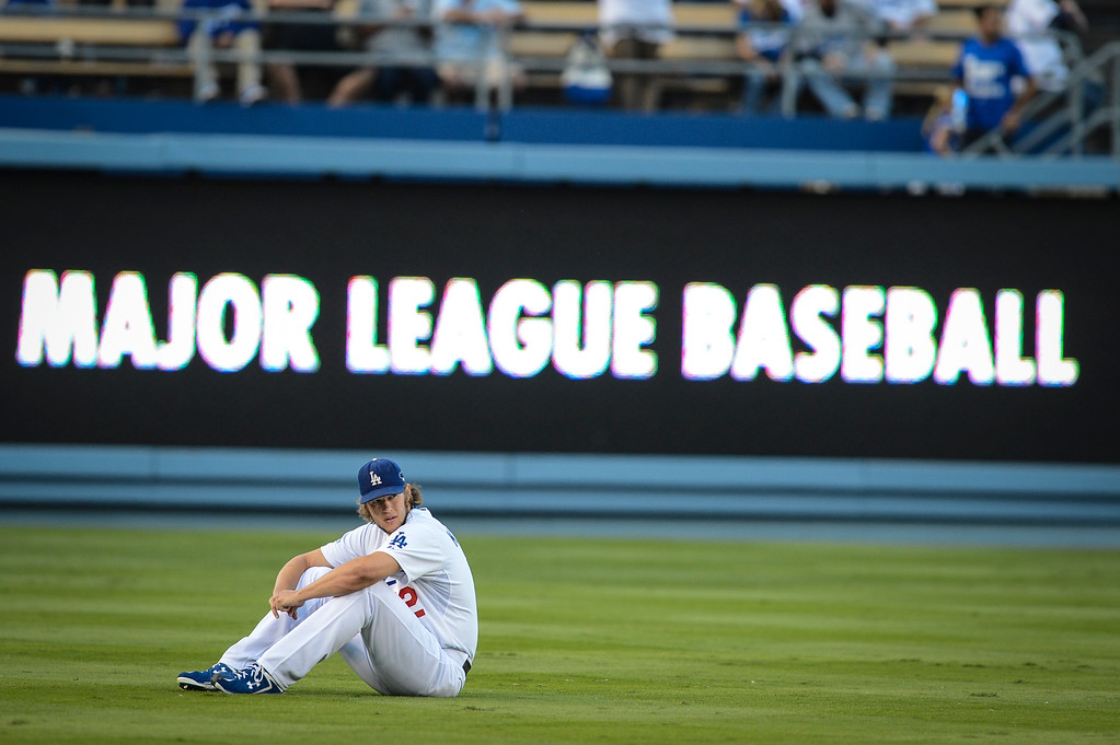 . Dodgers\' Clayton Kershaw on the field before game 4 against Atlanta  Monday, October 7, 2013 ( Photo by Hans Gutknecht/Los Angeles Daily News )